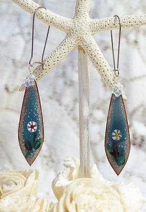 Enameled Earrings w/Floral wafers