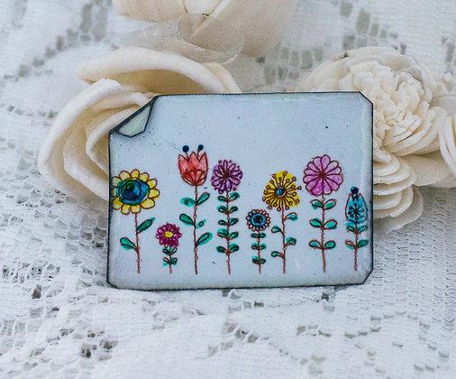 Hand-painted jewelry - Wildflower Pin