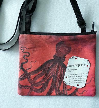 Small cross-body art bag - Red Octopus
