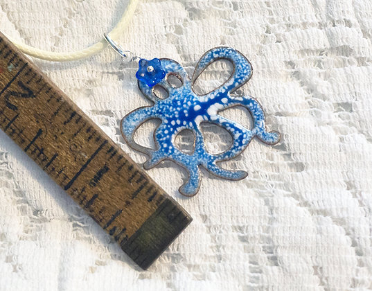 Octopus w/ flower enameled necklace