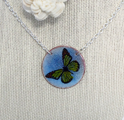 Monarch 2 on Blue - Necklace