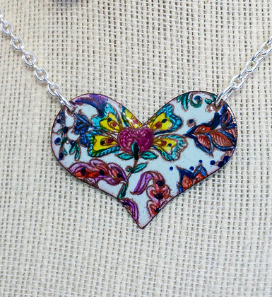 Puff heart necklace - Crewel flora on blue