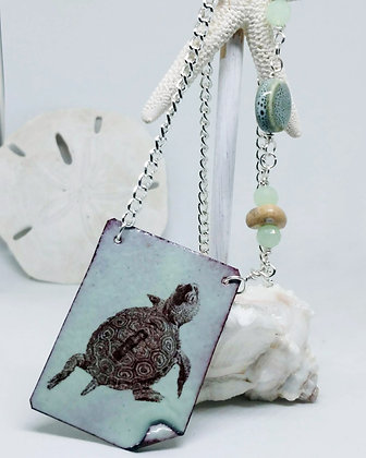 Turtle (vertical) Enameled Necklace