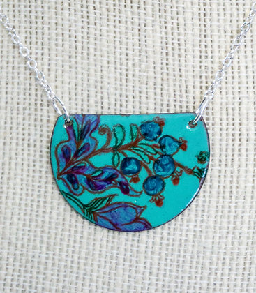 Med. hand painted necklace - Berries on mint green