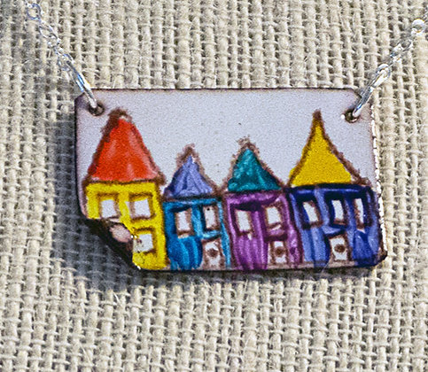 Hand-painted jewelry - Row Houses/2 small