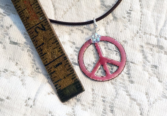 Enameled copper - Peace & flowers necklace