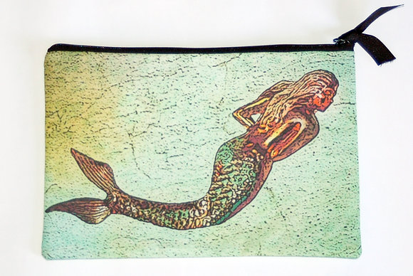 Large Zip Clutch Brass Mermaid