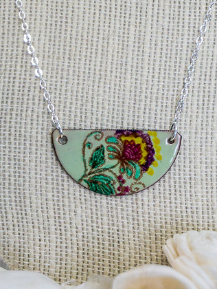 Hand-painted Jewelry - Crewel flora on lichen green