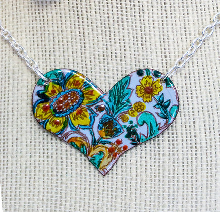Puff heart necklace - Yellow flora on blue