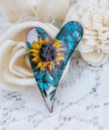 Med. swept heart pin - Sunflower w forget-me-not on cream