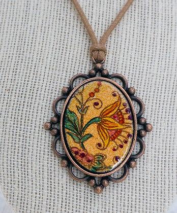 Framed pendant - Crewel flora on coral