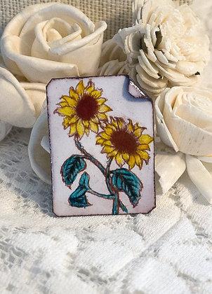 Hand-painted jewelry - Sunflower Pin