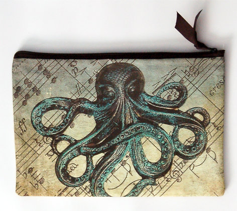 Large Zip Clutch Musical Octopus