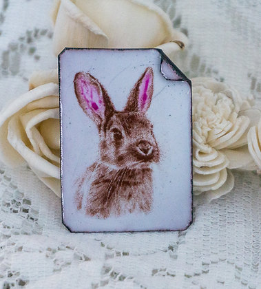Hand painted pin - Bunny