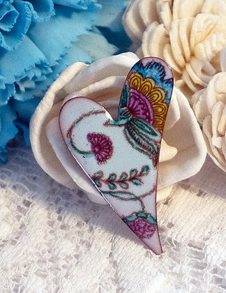Hand-painted crewel flora on lt.green heart pin