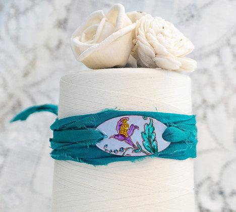 """Wrap bracelet """"Crewel flora on storm blue on teal"""""""