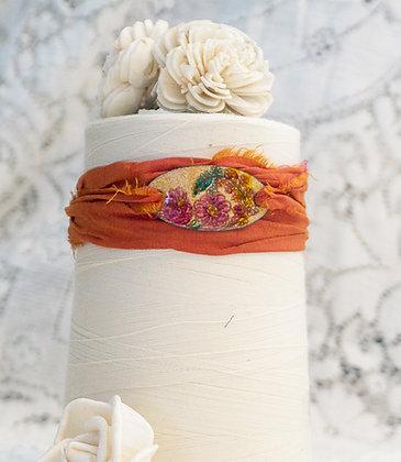 """Wrap bracelet """"Rose buds on coral"""""""