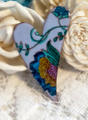Hand painted crewel on blue heart pin