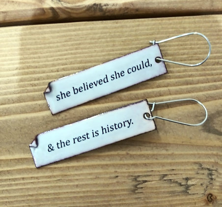 """Written Word"" earrings - Believe"