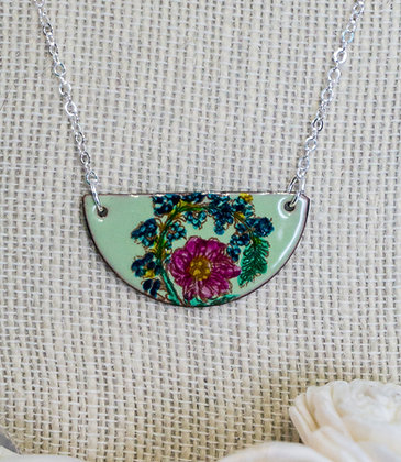 Hand painted jewelry - Crewel flora on lichen green
