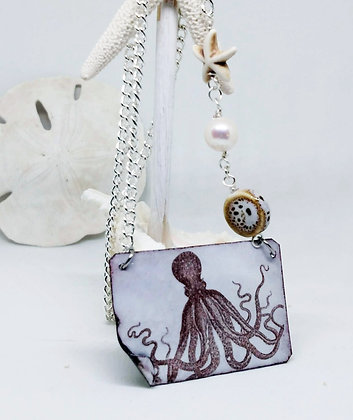 Octopus (horizontal) Enameled Necklace