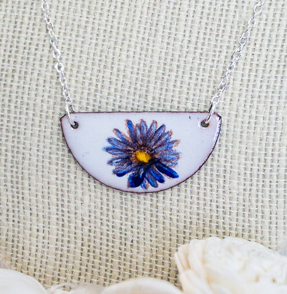 Hand-painted Jewelry - Blue daisy on white