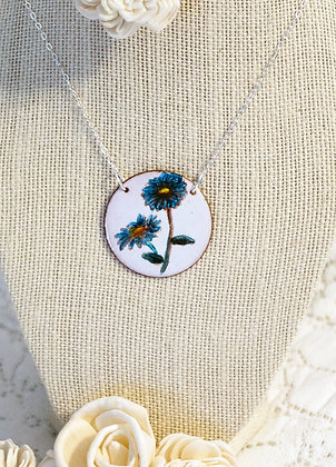 Hand-painted jewelry - Blue Flower Round