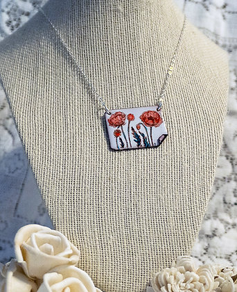 Hand-painted jewelry- Poppy/1 Med.