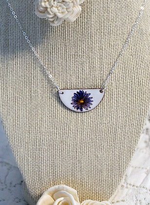 Hand-painted jewelry - Blue flower Sm.