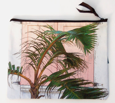 Large Zip Clutch Nassau Shutters and Palm