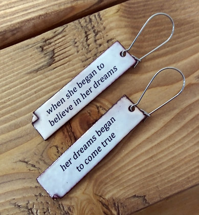 """Written Word"" earrings - Dreams"