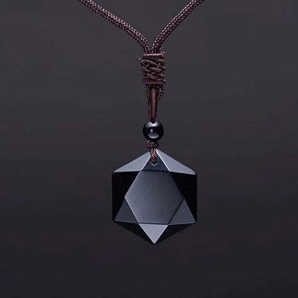 Collier avec pendentif en Obsidienne