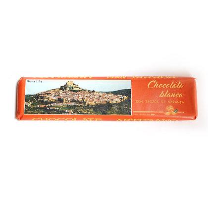 Chocolate Blanco con Trozos de Naranja (24% Cacao)