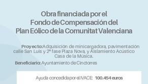 Obra financiada por el Fondo de Compensación del  Plan Eólico de la Comunitat Valenciana