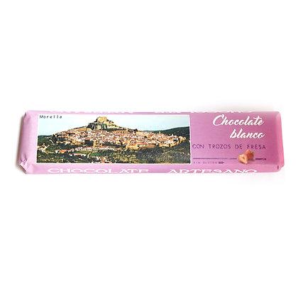 Chocolate Blanco con Trozos de Fresa (24% Cacao)