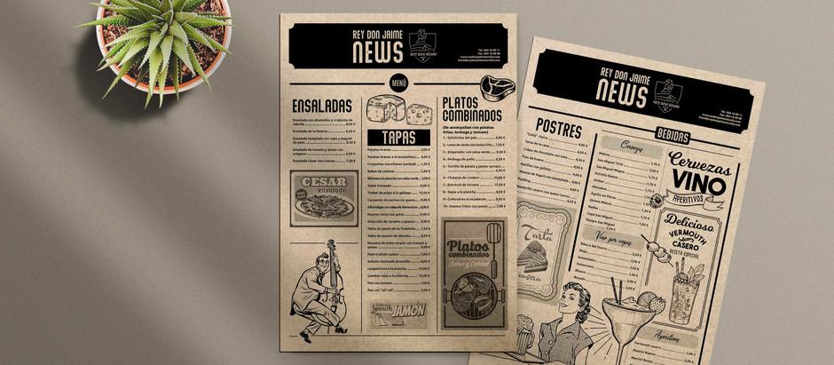 Diseño e impresión de las nuevas cartas para el Hotel Rey Don Jaime