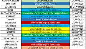 Calendario CADU de deportes individuales