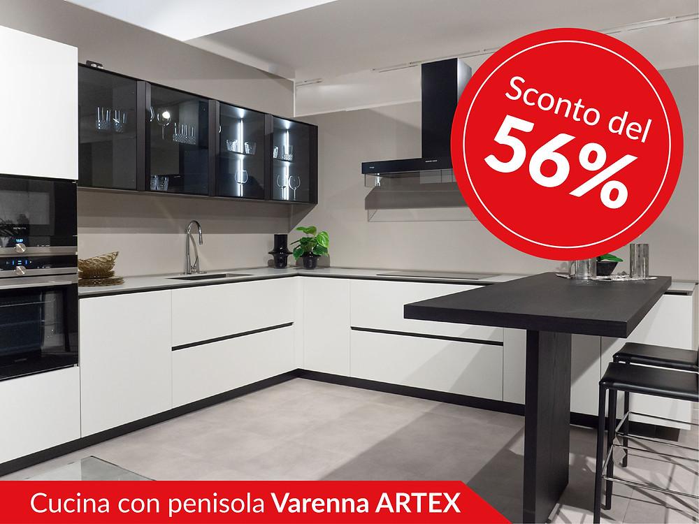 Cucina con penisola di Varenna modello AArtexlea