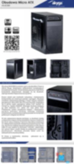 """Obudowa AK403BK to produkt z gamy obudów Micro Tower w ofercie Akyga, dedykowany użytkownikom kompletującym kompaktowy komputer. Coraz bardziej popularne małe formy komputerów stacjonarnych, bazujące na tej obudowie, zajmują niewiele miejsca i nie tworzą wrażenia """"zagracenia"""" przestrzeni – czy to biurowej, czy domowej. Elegancka, czarna obudowa sprawia, że nie chcemy już chować komputera między półkami, a możemy wpasować obudowę w wystrój pomieszczenia. Dużym atutem jest możliwość rozbudowy i dostosowania komponentów do zmiennych potrzeb i wymagań. Obudowa umożliwia zastosowanie jednego z trzech różnych rodzajów płyt głównych: Micro ATX, Mini ITX oraz Flex ATX. Znajdująca się w górnej części zewnętrzna zatoka 5.25"""" pozwoli na montaż np. napędu CD/DVD. Wewnątrz obudowy dostępne są dwie kieszenie 2.5"""", jedna 3.5"""" oraz jedna 5.25"""", czyli łącznie 4 zatoki do montażu dysków. Podstawowy system zarządzania kablami i dostosowane wycięcia wewnątrz obudowy ułatwiają instalację komponentów."""