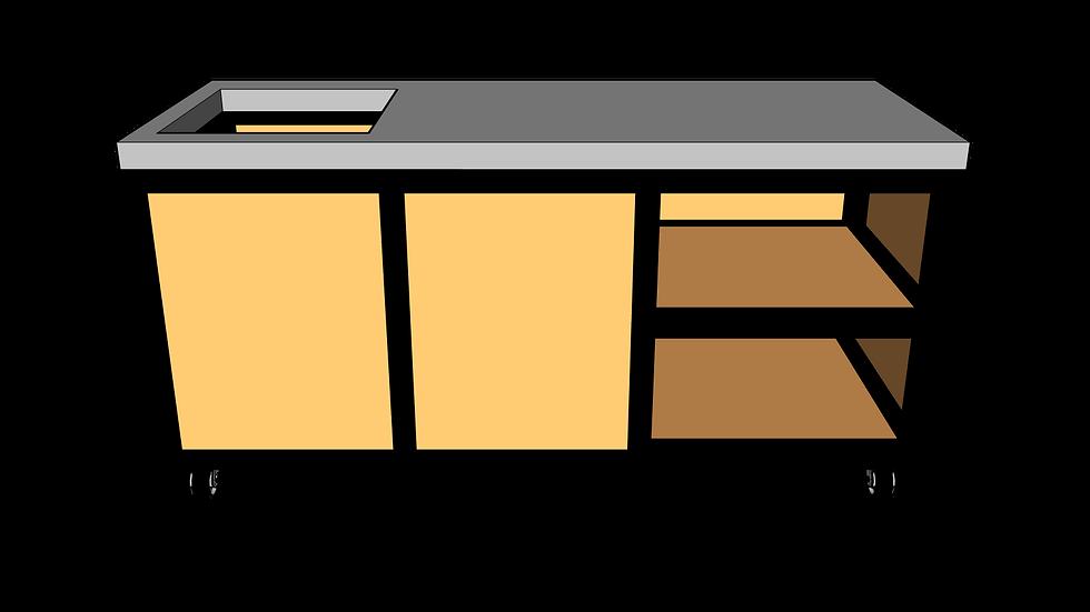 Buitenkeuken met spoelbak 180 cm rechts
