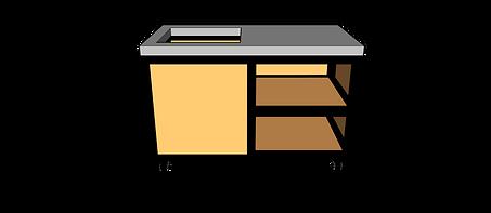 Buitenkeuken met spoelbak 135 cm rechts