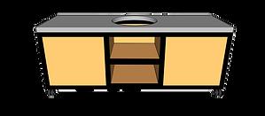 Buitenkeuken voor kamado midden 220cm