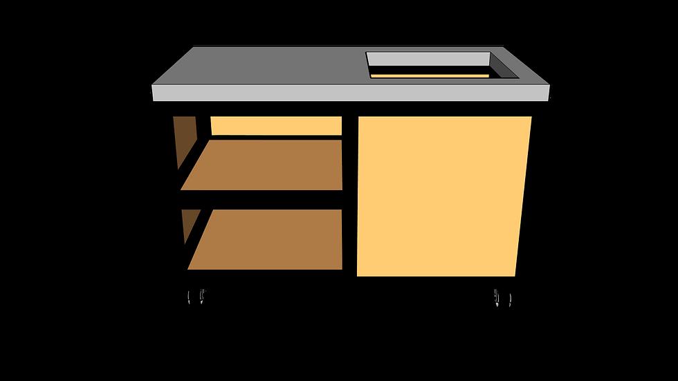 Buitenkeuken met spoelbak 135 cm links