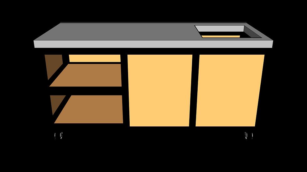 Buitenkeuken met spoelbak 180 cm links