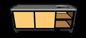 Buitenkeuken voor kamado rechts 220cm