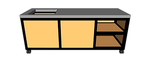 Buitenkeuken met spoelbak 220 cm rechts