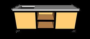 Buitenkeuken met spoelbak 220 cm midden
