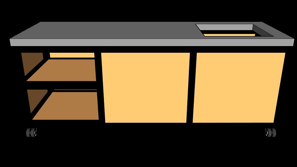 Buitenkeuken met spoelbak 220 cm links