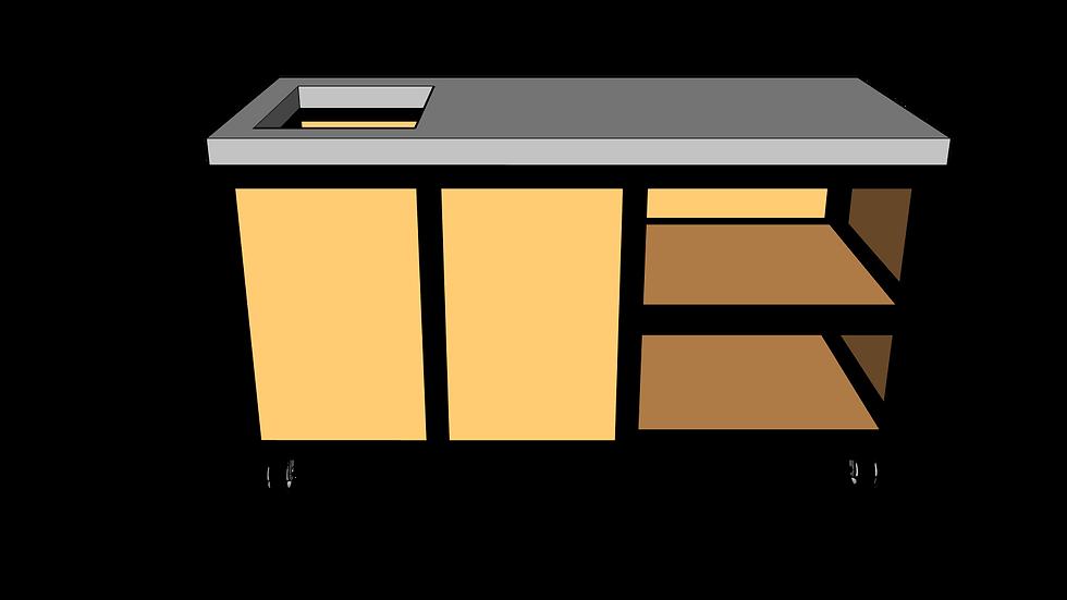 Buitenkeuken met spoelbak 160 cm rechts