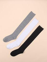 3pairs Simple High Cotton Socks